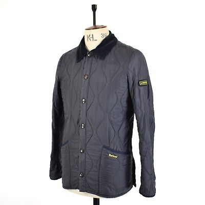 Men's Navy Blue BARBOUR QUILTED LIDDESDALE Track Country Outdoor Jacket UK S