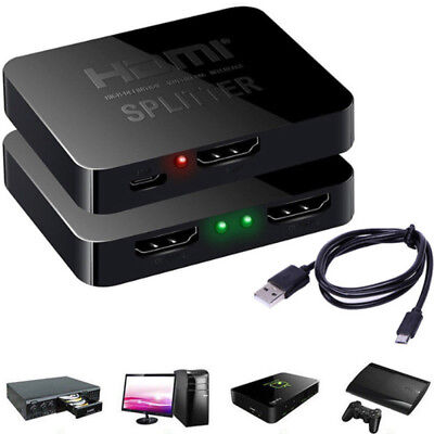 1080P HD TV 1 in 2 out Compact Auto HDMI Allocator Switch Hub Splitter Adapter