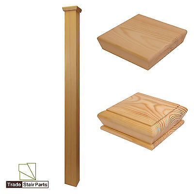 Stair Newel Post - Plain Square - Solid Wood - Pine