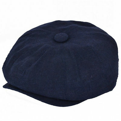 G & H Navy Summer Linen 8 Panel Peaky Blinders Style Newsboy Cap Hat