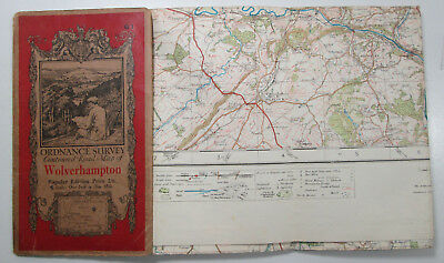 1921 vintage OS Ordnance Survey one-inch Popular Edition Map 61 Wolverhampton