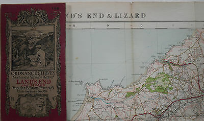 1928 old OS Ordnance Survey one-inch Popular Edition Map 146 Land's End & Lizard