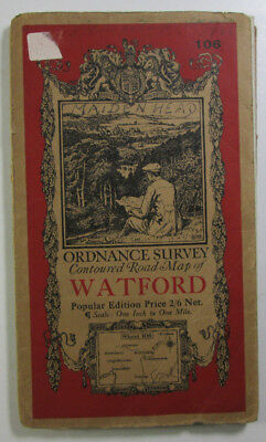 old vintage 1933 OS Ordnance Survey one-inch Popular Edition Map 106 Watford
