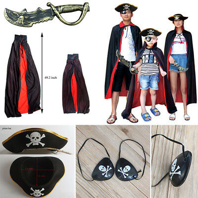 Halloween Cosplay Pirate Party  Accessories Costume Props Cape Cloak Mantle Set