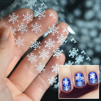 0D9F White Christmas Nail Decals Snowflakes Nail Sticker Makeup Manicure