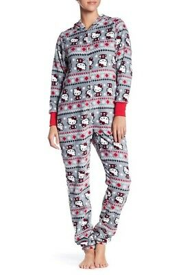 New NWT Christmas gift Hello Kitty Fair Isle Hooded Fleece Pajama Suit size L