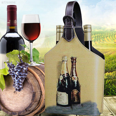 E52D Vintage Looking Wine Box Storage Holder For 2Bottles Carrier With Handle