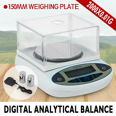 2000x 0.01g Lab Balance Electronic Scale for Laboratories Gold Precision