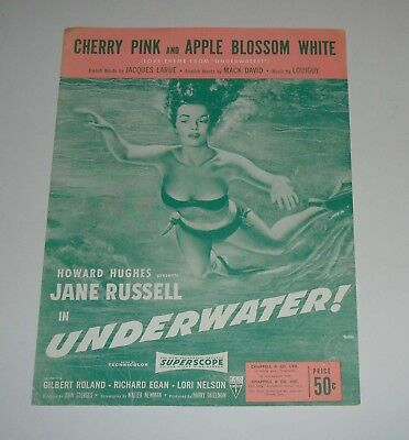 Original 1951 Jane Russell Cherry Pink 4 Page Sheet Music Free Ship In Bikini