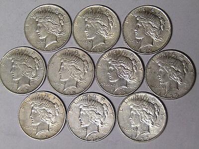 Lot of 10 Peace Silver Dollars: 1922 1922-D 1922-S 1923-D 1923-S Circulated