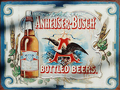 Metal Vintage Retro Shabby-Chic Tin Anheuser-Busch Wall Plaque