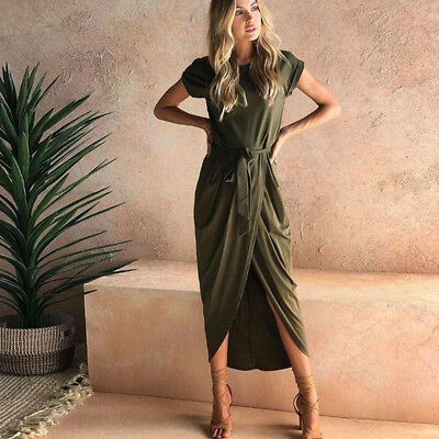 Women Casual Split Hem Short Sleeve Maxi Dress Loose Long Bow Sashes Dress CB