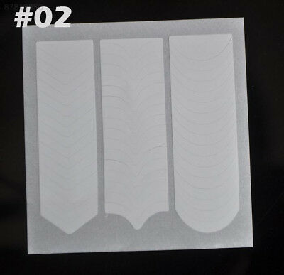 BE69 Fashion 2 Packs White French Nail Art Form Edge Guides Sticker Stencil #2