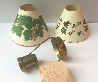 Solid Brass Candleshade Carrier MADE IN ENGLAND + PAIR Victorian Style Shades!