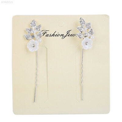 E102 Pair Fashion Wedding Flower Leaf Rhinestone Crystal Hair Pins Accessories