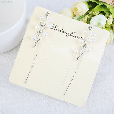 4874 Pair Elegant Wedding Bridesmaid Pearl Crystal Hair Pins Clip Accessories