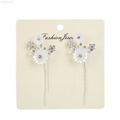 725C 1Pair Sweet Girl Handmade Diamante Pearl Flower Hair Hairpin Long Hair Pins