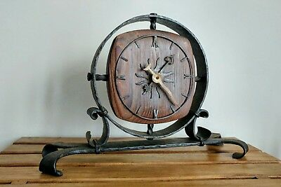 Vintage Rustic Mantel/Desk Clock wrought iron wood arts crafts Junghans battery