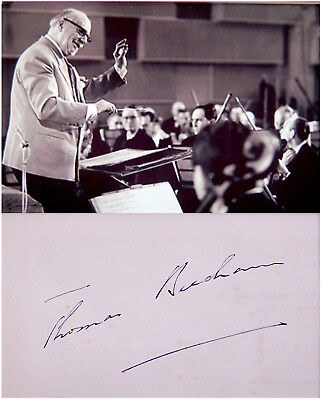 Conductor THOMAS BEECHAM Hand SIGNED AUTOGRAPH + ACTION PHOTO + DECORATIVE MAT