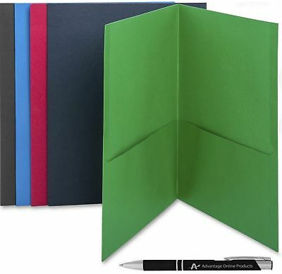Business Source Two Pocket Folders, 5-Pack, Assorted Colors, Made of Sturdy P...