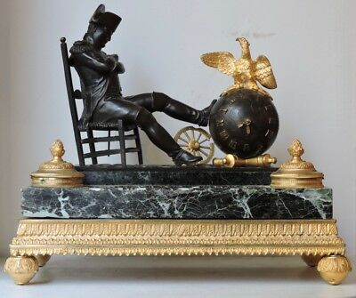 Encrier Pendule Napoleon Bronze, Ormolu And Marble Clock/Inkwell Circa 1890