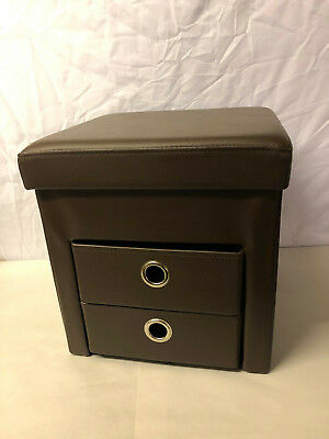 Faux Leather Foldable Storage Stool Ottoman Pouffe With Drawers Brown