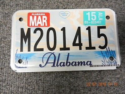 2015 Alabama Motorcycle/moped License Plate   #m201415