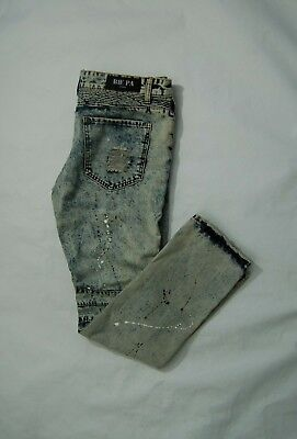069301a7 $170 BIE PA Paris 32 Distressed Ripped Moto Jeans Tie Dye Destroyed ...