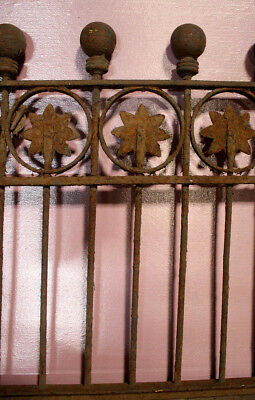 Set 9 Sections 89x28 Antique Vintage Wrought Iron Fence Fencing Gate Ball Flower