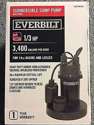 Everbilt 1/3 HP Submersible Sump Pump with Vertical (BRAND NEW) •FREE SHIPPING•