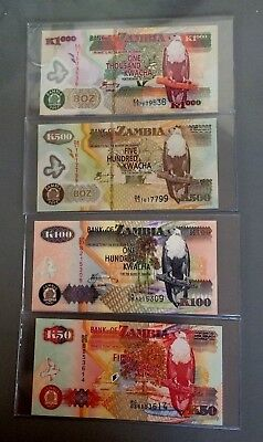 Zambia 50,100,500,and 1000 Kwacha notes - Lot of 4- Handsome Set!