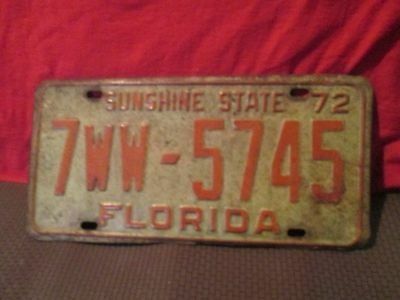 Vintage 72 Florida Vehicle License Plate Car SUNSHINE STATE Tag 7 WW 5745 1972