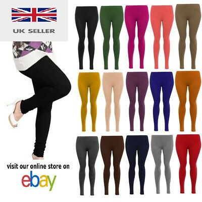 Ladies Womens Viscose Plain Stretchy Soft Leggings Elasticated Waist