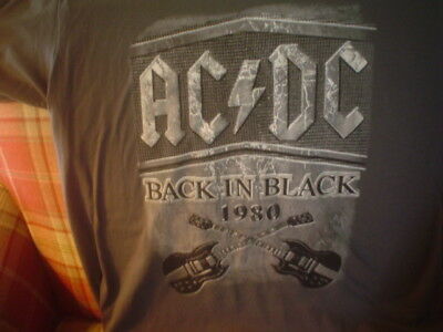 NEW Men Rockware 1980 AC/DC Back In Black guitar graphic Cotton XL Gray