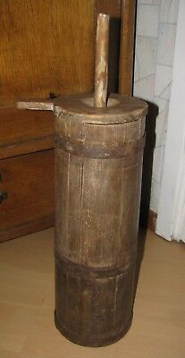 Antique primitive staved wooden pine butter churn old rustic Europe 1800
