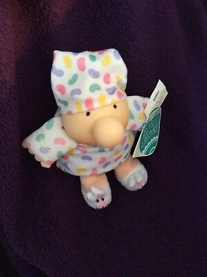 Ziggy Plush Doll - EASTER HUG -  Bunny Slippers w Hat & Jelly Bean Gown 1994