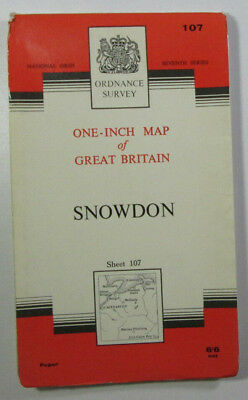 Old Vintage 1965 OS Ordnance Survey seventh series one-inch Map 107 Snowdon