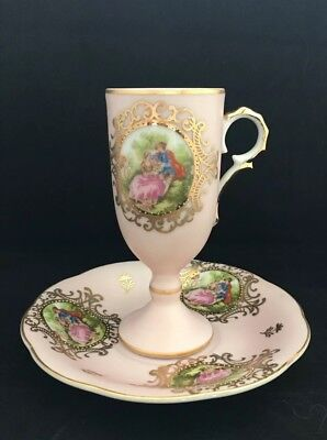Vintage Lefton Handpainted Tall Demitasse Tea Cup & Saucer