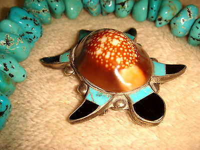 """Vtg. Old Pawn Rare Zuni 2"""" Sterling Silver Inlaid Turquoise Jet Shell Turtle Pin"""