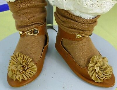 LEATHER SHOES & SOCKS fro ANTIQUE DOLL, Vintage Doll, Dollmaking