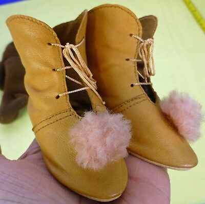 LEATHER BOOTS & SOCKS fro ANTIQUE DOLL, Vintage Doll, Dollmaking