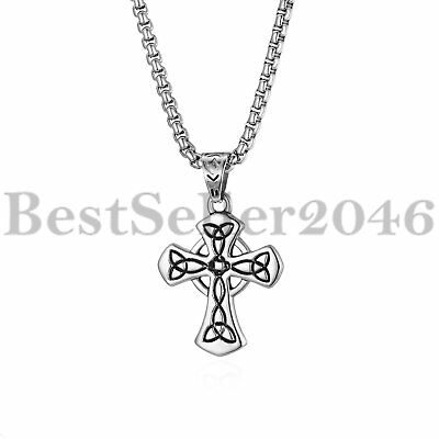 """Men's Stainless Steel Polished Celtic Cross Irish Knot Pendant Necklace 22"""""""