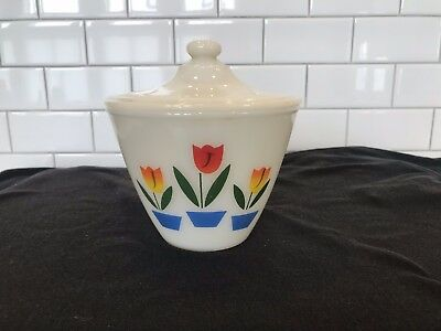 Fire King Oven Ware Tulip Grease Jar with Lid Excellent!