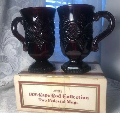 Pair of Vintage Avon 1876 Cape Cod Ruby Red Glass 2x PEDESTAL MUGS IN BOX
