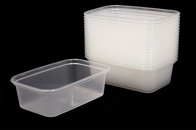 650ml Plastic Containers Tubs Clear With Lids Microwave Food Safe Takeaway SATCO