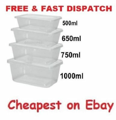 SATCO Plastic Containers Tubs Clear + Lids Microwave Food Safe Takeaway Quality