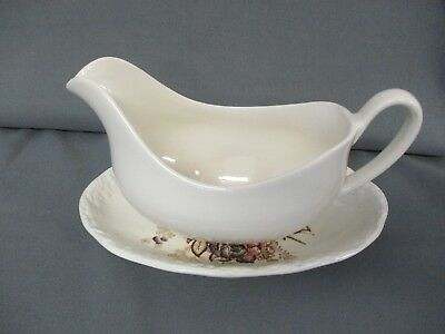 Mason's Gravy Boat with Plate or Dish - Plain Cream with Floral Pattern
