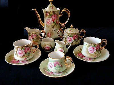 11 PIECE SET Vintage Lefton HERITAGE ROSE Coffee Pot Set with RARE Demitasse