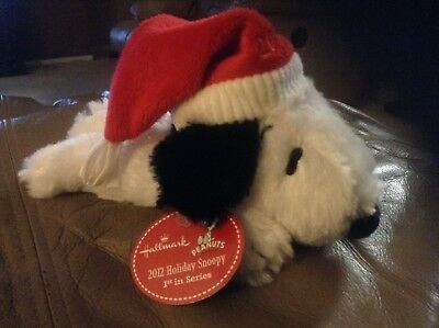 "2012 Hallmark Peanuts SNOOPY PLUSH Christmas Santa Hat 8"" 1st in Series NWT New"