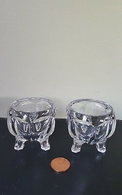 A Pair of Vintage Art Deco Glass Chippendale Small Bowls on Three Feet